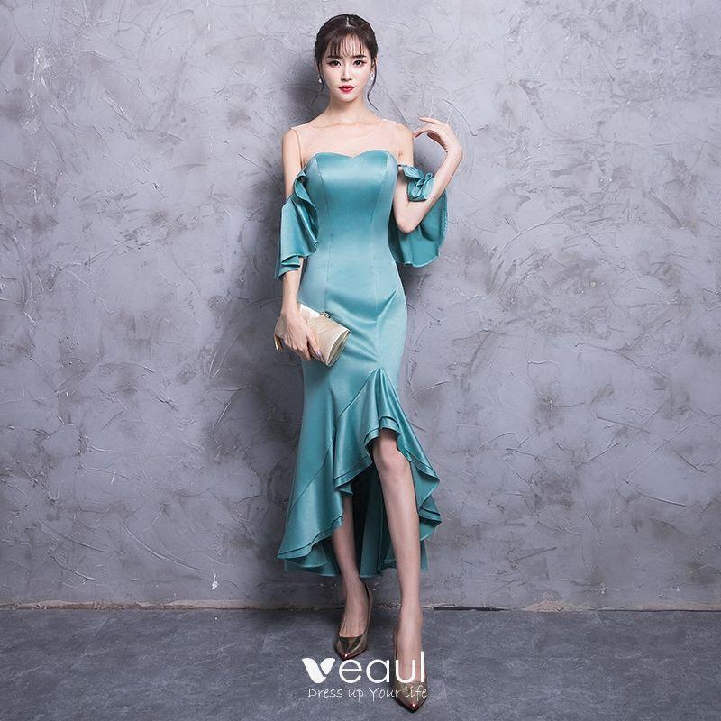 17db14a29 Moda Jade Verde Transparentes Vestidos de noche 2018 Trumpet   Mermaid  Scoop Escote Sin Tirantes 3 4 ...