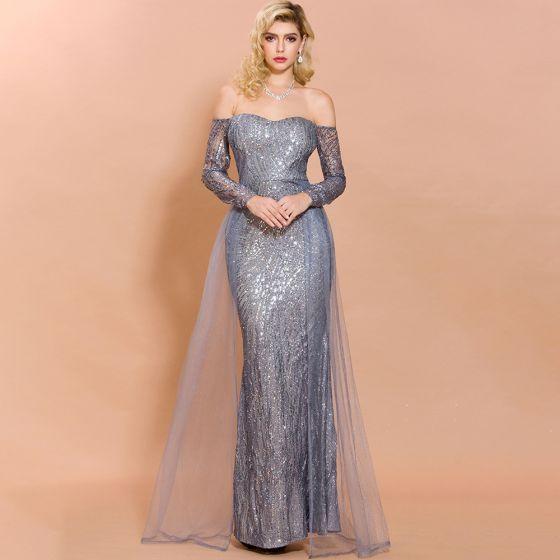 Glitzernden Silber Pailletten Abendkleider 2020 Meerjungfrau Off Shoulder Lange Ärmel Lange Rückenfreies Festliche Kleider