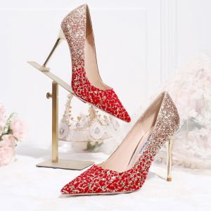 Sparkly Charming Gold Red Gradient-Color Wedding Shoes 2020 Glitter Sequins 10 cm Stiletto Heels Pointed Toe Wedding Pumps