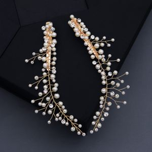 Schöne Gold Kopfschmuck Haarschmuck Braut  2020 Legierung Perle Strass Hochzeit Brautaccessoires