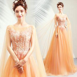 Chic / Belle Orange Robe De Soirée 2019 Princesse Encolure Dégagée Manches Longues Appliques En Dentelle Perle Train De Balayage Volants Dos Nu Robe De Ceremonie