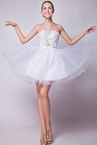 2015 Lovely Strapless Sweetheart Short White Cocktail Dress