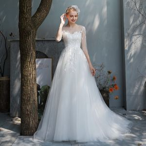 Affordable Ivory Outdoor / Garden See-through Wedding Dresses 2019 A-Line / Princess Scoop Neck 3/4 Sleeve Backless Appliques Lace Sweep Train Ruffle