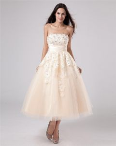 Applique Yarn Tea Length Strapless Mini Bridal Gown Wedding Dress