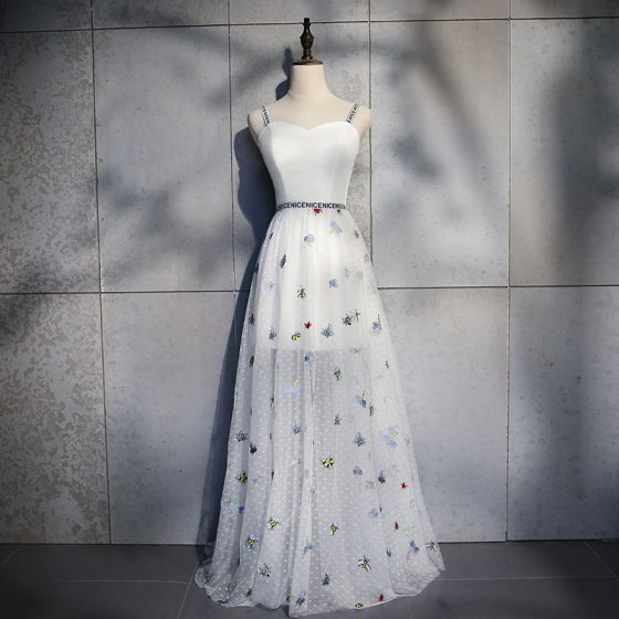Piękne Kość Słoniowa Sukienki Wieczorowe 2018 Princessa Rysunek Spaghetti Pasy Bez Pleców Bez Rękawów Długie Sukienki Wizytowe