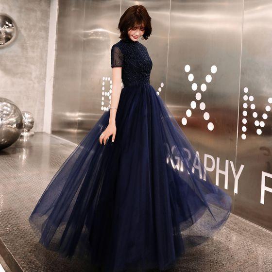 Style Chinois Bleu Marine Robe De Soirée 2019 Princesse Col Haut Perlage Cristal Manches Courtes Longue Robe De Ceremonie