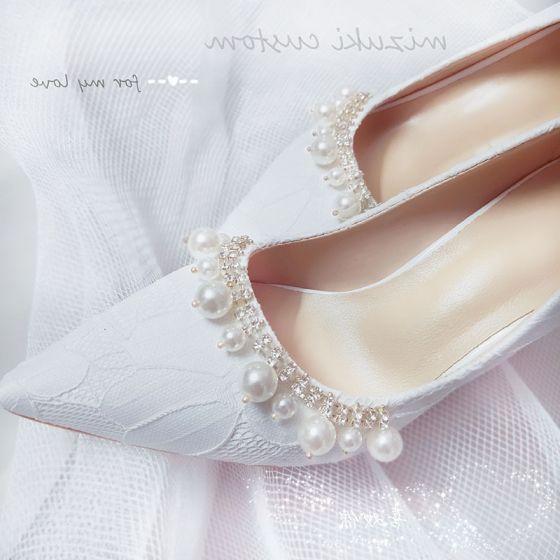 Elegant Hvit Bryllup Blonder Brudesko 2020 Lær Perle Rhinestone 9 cm Stiletthæler Spisse Pumps