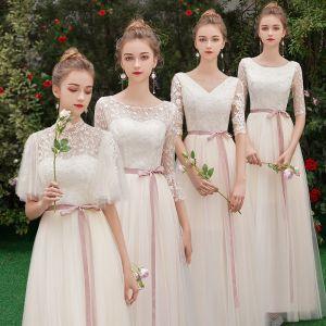 Remise Champagne Transparentes Robe Demoiselle D'honneur 2019 Princesse Ceinture Appliques En Dentelle Longue Volants Dos Nu Robe Pour Mariage