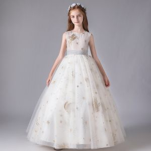 Chic / Beautiful Ivory Birthday Flower Girl Dresses 2020 Ball Gown Scoop Neck Sleeveless Appliques Star Sequins Bow Sash Floor-Length / Long Ruffle