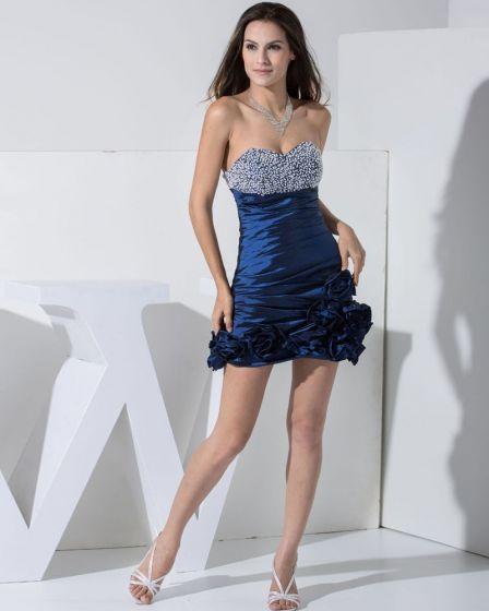 Stylowy Tafta Jedwabna Kochanie Linke Wzburzyc Rekawow Backless Mini Tanie Sukienki Koktajlowe