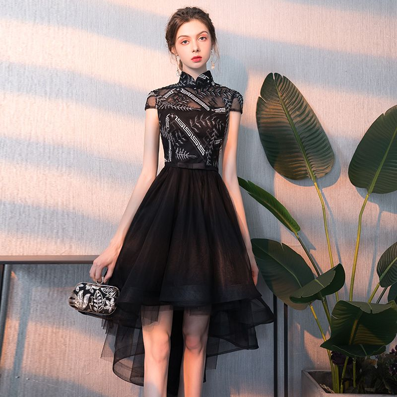 Chic / Beautiful Black Cocktail Dresses 2018 A-Line / Princess Appliques High Neck Short Sleeve Asymmetrical Formal Dresses
