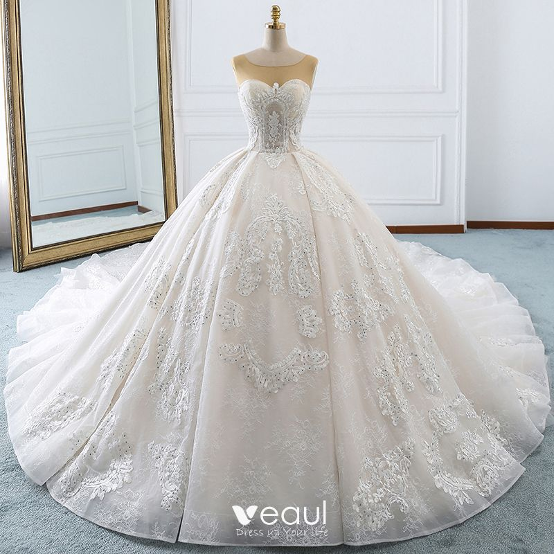 Luxury Gorgeous Ivory Wedding Dresses 2018 Ball Gown Lace Appliques Sequins Rhinestone Scoop Neck Backless Sleeveless Royal Train Wedding,Ball Gown Wedding Dress Sparkle