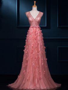 Luxuriös A-linie Mit V-ausschnitt Perlen Pailletten Spitze Blumen Tüll Abendkleid