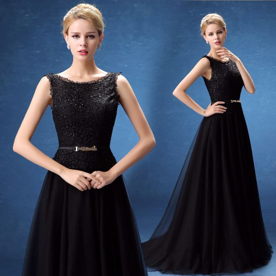 Chic / Beautiful Evening Dresses  2017 Black A-Line / Princess Sweep Train Scoop Neck Sleeveless Backless Lace Appliques Sequins Metal Sash Formal Dresses