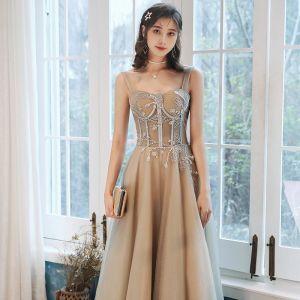Élégant Champagne Robe De Soirée 2020 Princesse Encolure Carrée Perlage Paillettes Sans Manches Dos Nu Longue Robe De Ceremonie
