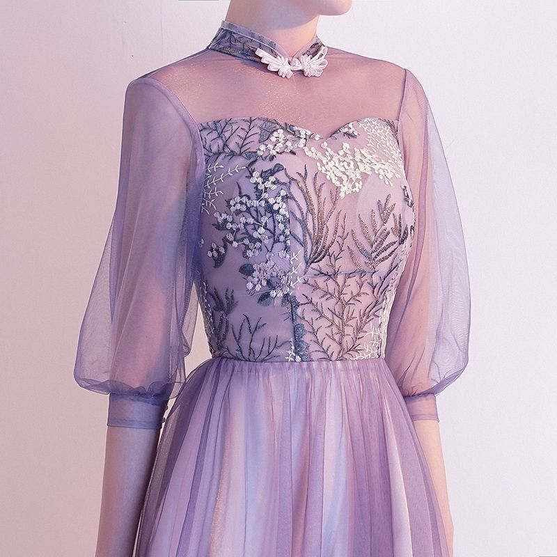 Chic / Beautiful Lavender Evening Dresses  2020 A-Line / Princess High Neck Lace Flower 1/2 Sleeves Backless Floor-Length / Long Formal Dresses