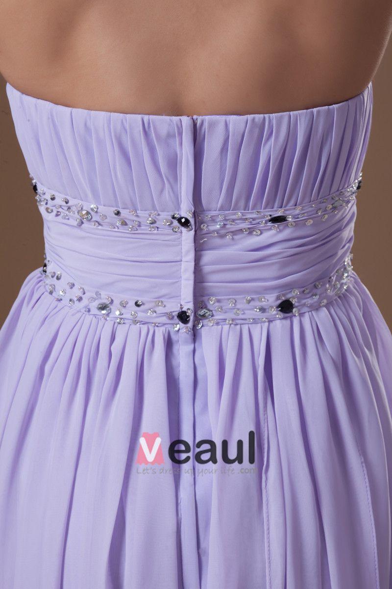 En Mousseline A Volants Perles Bretelles Longueur Asymetrique Plissee Femmes Hautes-basses Robe De Cocktail