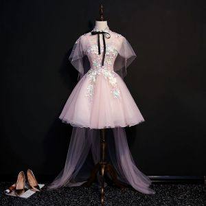 Classic Elegant Blushing Pink Watteau Train Graduation Dresses 2018 A-Line / Princess Tulle Appliques Backless Beading Strapless With Shawl Homecoming Formal Dresses