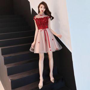 Charming Burgundy Party Dresses 2019 A-Line / Princess High Neck Crystal Lace Flower Appliques Cap Sleeves Short Formal Dresses