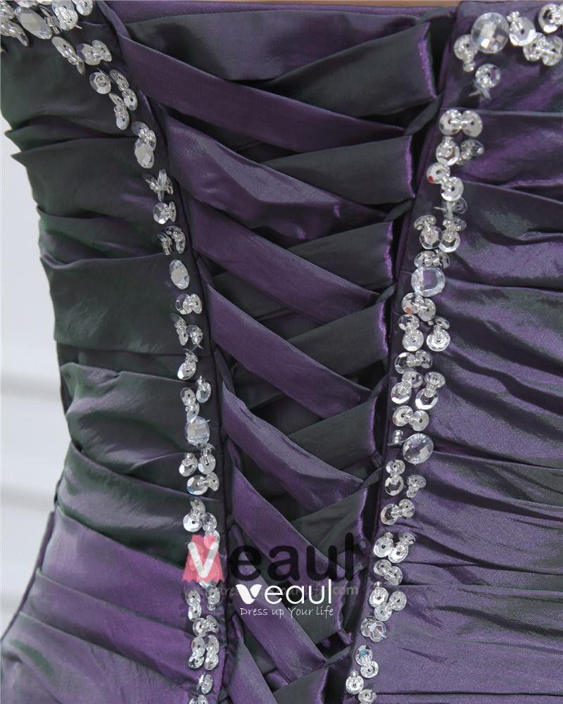 Elegant Taffeta Beading Floor Length Prom Dresses