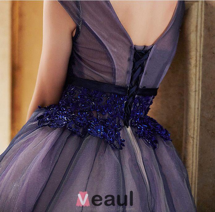 2016 Elegant Glitter Organza Applique Lace Royal Blue Prom Dress