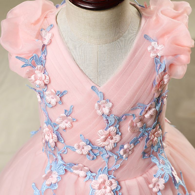 Chic / Beautiful Church Wedding Party Dresses 2017 Flower Girl Dresses Candy Pink Ball Gown Floor-Length / Long Scoop Neck Sleeveless Flower Appliques Pearl