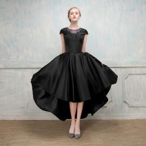 Chic / Belle Robe De Cocktail 2017 Princesse En Dentelle Fleur Perlage Cristal Encolure Dégagée Mancherons Asymétrique Robe De Ceremonie