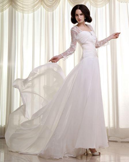 Chiffon Lace Ruffles Square Cathedral Train Sheath Wedding Dresses
