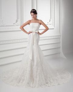 Tulle Applique Schleife Schatz Gericht Zug-hochzeitskleid Brautkleider