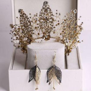 Vintage Barocke Bronze Brautschmuck 2020 Legierung Strass Perlenstickerei Diadem Ohrringe Hochzeit Brautaccessoires