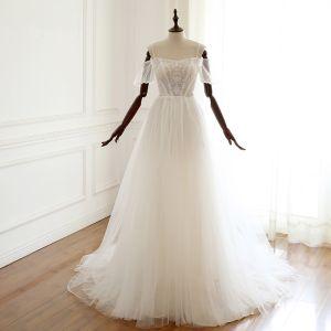 Elegante Ivory / Creme Brautkleider / Hochzeitskleider 2019 A Linie Spaghettiträger Perlenstickerei Pailletten Spitze Blumen Kurze Ärmel Rückenfreies Hof-Schleppe