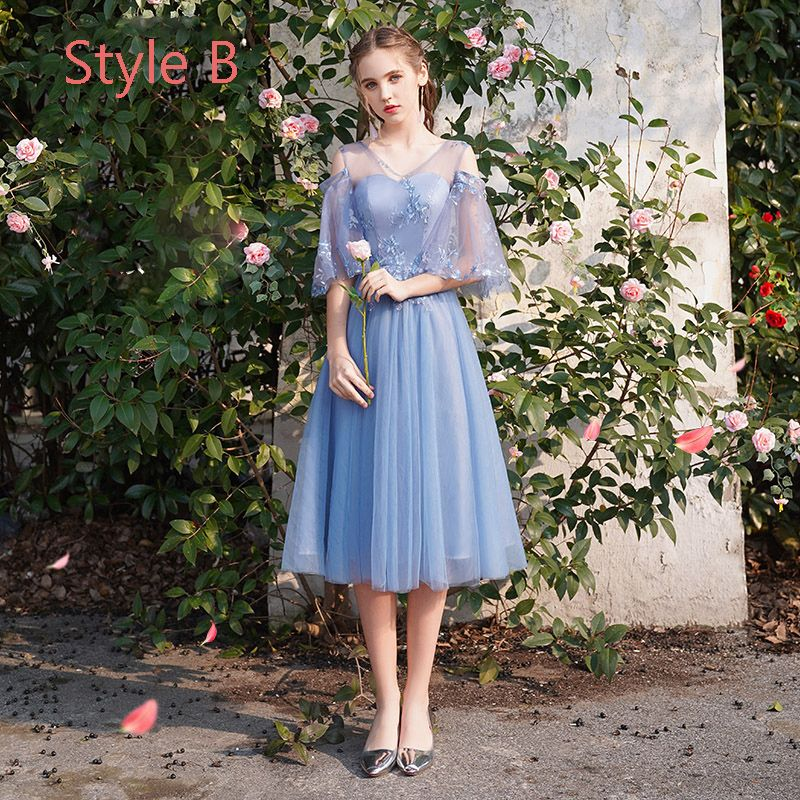 Chic / Beautiful Discount Ocean Blue Bridesmaid Dresses 2019 A-Line / Princess Appliques Lace Tea-length Ruffle Backless Wedding Party Dresses