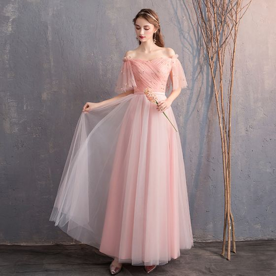 5648e584 Descuento Perla Rosada Vestidos De Damas De Honor 2019 A-Line / Princess  Fuera Del Hombro ...