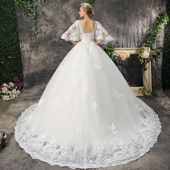 Chic / Beautiful Hall Wedding Dresses 2017 Lace Appliques Flower Pearl Scoop Neck 1/2 Sleeves Backless Court Train White Ball Gown