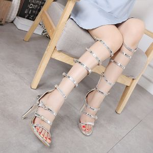 Sexy Silver Rave Club Womens Sandals 2020 11 cm Stiletto Heels Open / Peep Toe Sandals