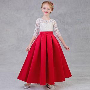 Schöne Rot Mädchenkleider 2018 A Linie Rundhalsausschnitt 1/2 Ärmel Strass Applikationen Mit Spitze Durchbohrt Lange Rüschen Kleider Für Hochzeit