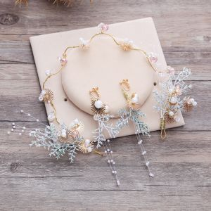 Chic / Beautiful Multi-Colors Headpieces Earrings 2019 Beading Pearl Tassel Wedding Prom 2-piece Accessories