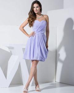 Chiffon Charmeuse Silk Strapless Sleeveless Knee Length Little Black Party Dress