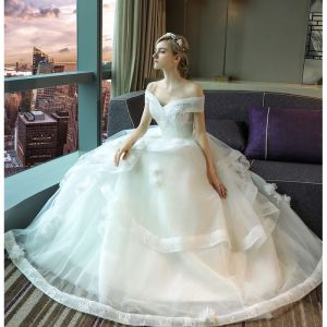 Elegant White Wedding Dresses 2017 Ball Gown Lace Flower Sequins Backless Off-The-Shoulder Short Sleeve Floor-Length / Long