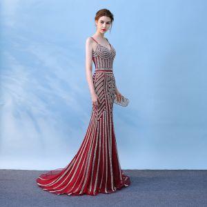 Schöne 2017 Abendkleider Rot V-Ausschnitt Mermaid Abend Heimkehr Festliche Kleider