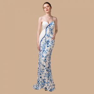 Chinese style Ivory Evening Dresses  2018 Trumpet / Mermaid Sleeveless Spaghetti Straps Printing Flower Sweep Train Backless Formal Dresses