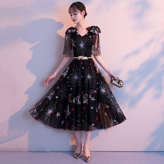 4ab8628d4 Hermoso Negro de fiesta Vestidos de graduación 2018 A-Line   Princess  V-Cuello Hombros Bowknot ...