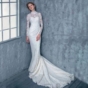 Vintage Ivory / Creme Spitze Brautkleider 2017 Mermaid Stehkragen Lange Ärmel Rückenfreies Schnürung Hof-Schleppe