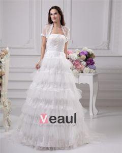 Elegant Applikasjon Beading Ruffles Stroppelos Gulv Lengde Satin Garn Blonder Ball Kjole Brudekjoler Bryllupskjoler