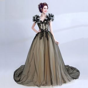 Classic Elegant Black Prom Dresses 2018 Tulle V-Neck Ball Gown Floor-Length / Long Appliques Backless Embroidered Formal Dresses