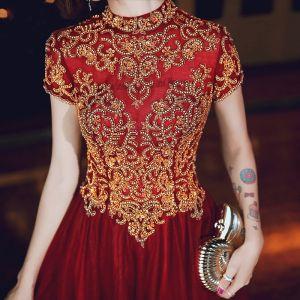 Classy Burgundy Evening Dresses  2020 A-Line / Princess Scoop Neck Beading Rhinestone Lace Flower Short Sleeve Backless Floor-Length / Long Formal Dresses