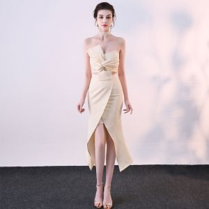 Sexy Champagne 2 Piece Evening Dresses  2019 Trumpet / Mermaid Strapless Bow Sleeveless Backless Short Formal Dresses