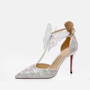 Moda Plata Cuero Zapatos de novia 2019 T-Correa Rhinestone mariposa 9 cm Stilettos / Tacones De Aguja Punta Estrecha High Heels