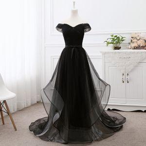 Eleganckie Czarne Sukienki Na Bal 2019 Princessa Przy Ramieniu Kótkie Rękawy Bez Pleców Kokarda Trenem Sąd Sukienki Wizytowe