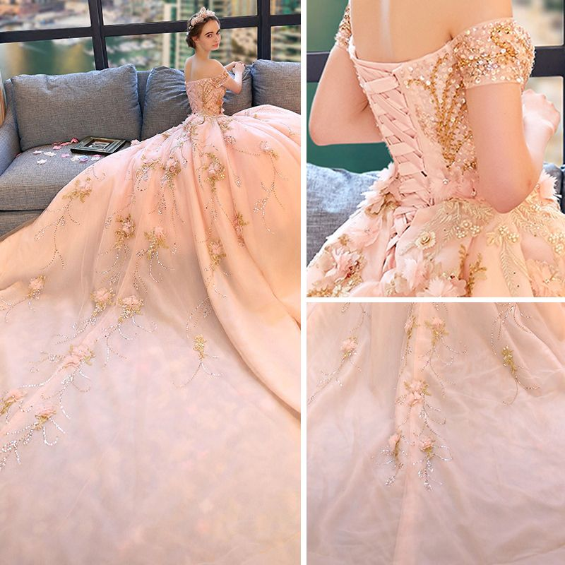 Luxury / Gorgeous Blushing Pink Wedding Dresses 2018 Ball Gown Off-The-Shoulder Short Sleeve Backless Beading Appliques Flower Rhinestone Ruffle Royal Train